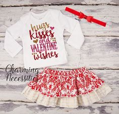 Hugs Kisses and Valentines Wishes - Baby Toddler Girl Valentines Day Outfit, Glitter Top and Twirl Skirt Set