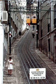 funicular in Lisbon, Portugal, 1994
