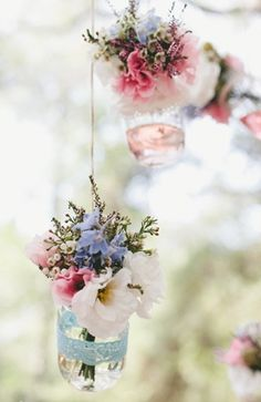 small cut flowers in jars w/ dyed water looks pretty. Just interesting looking/ a possibility. We could hang these from the trees Flowers In Jars, Hanging Flowers, Cut Flowers, Beautiful Flowers, Flower Jars, Easter Flowers, Flowers Garden, Simply Beautiful, Deco Floral