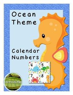 """Calendar Number Cards -- Ocean ThemeThis set of calendar number cards comes with 31 number cards, two """"Birthday"""" cards, two """"No School"""" cards, and one """"Field Trip"""" card.  Cards are 2.5 inches by 2.5 inches.I use these in a calendar pocket chart during circle time."""