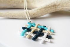 blue net - handmade crochet wire necklace, pendant, with a metal chain