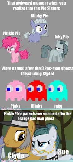 This is just too much... The three little ones always have the same names, Pinky Blinky and Inky. But in Pac-Man, the orange one is Clyde, and in Mrs. Pac-Man, the orange one is Sue!!! This is just too much awesome!!!