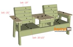 Double Chair Bench Plans – Step-By-Step Plans double chair bench plans step 6 Wood Bench Plans, Wooden Chair Plans, Woodworking Furniture Plans, Woodworking Forum, Woodworking Classes, Teds Woodworking, Pallet Patio Furniture, Outdoor Furniture Plans, Diy Garden Furniture