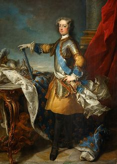 "Jean-Bapstise Van Loo, Portrait of Louis XV (1723-4)    Commissioned by the duc d'Antin for his chateau at Petit-Bourg. See Beaurain, ""Portraits de Louis XV"""