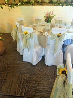 Hessian And Lace On White Cotton Chair Covers At Ufton Court