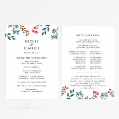 Printable Wedding Program Printable- Bloom Garden Wedding Program PDF - Wedding Reception Program Fan - Letter or Size (Item code: Wedding Reception Program, Wedding Ceremony, Printable Wedding Programs, Program Fans, Matron Of Honour, Bridesmaids And Groomsmen, A4 Size, D Day, All You Need Is Love