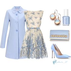 60's pretty light blue outfit, created by smilenka on Polyvore - great for a fancy spring event (not that I ever go to any of those...)