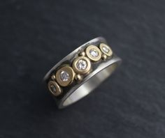 Silver Gold Diamond Pebble Ring, 8mm 5 stone, Sterling Silver and 14k Yellow Gold Concave Band, Stacking Ring, Ready to Ship size 8