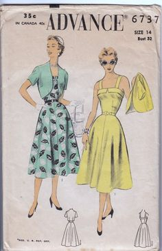 Advance 6737 Sun Dress and Bolero   Straight line bodice top, dart fitted with bias fold finish and wide shoulder straps, four piece flared skirt,  side zipper closing in dress, short bolero, dart fit