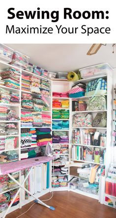 Sewing Fabric Storage Sewing Room: Maximize Your Space. Includes great tips for product photography. - I'm showing off my sewing room makeover and sharing a few tips for maximizing your workspace! Sewing Room Design, Sewing Room Storage, Sewing Room Decor, Craft Room Design, Sewing Spaces, Sewing Room Organization, My Sewing Room, Craft Room Storage, Fabric Storage