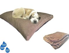 40x35 Microsuede Brown Large Size Mixed Shredded Memory Foam Premium Overfilled Pet Dog Orthopedic Pillow Bed with Waterproof Resistant Inner Cover  FREE 2nd External Cover * Read more reviews of the product by visiting the link on the image.(This is an Amazon affiliate link and I receive a commission for the sales)