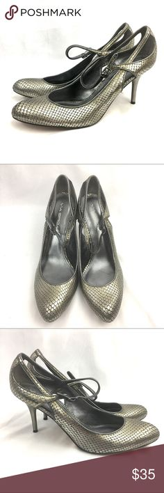 Via Spiga Stiletto High Heels Ankle Strap Snake Via Spiga metallic shiny leather stiletto high heels, women's size 8.5 M (medium width); Snakeskin reptile pattern; ankle strap; Very good preowned condition- see photos; Designed in Italy Via Spiga Shoes Heels