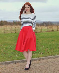 red skirt and breton stripe top