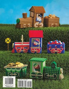 Pattern Book Only Holiday Candy Express The Needlecraft Shop Published In 2009 - 32 Pages 6 Patterns - 7 Count Canvas St. Patricks Day Express: Locomotive 8 1/4w x 4 5/8h x 3 3/4d Car 4 7/8w x 2 7/8h x 3 3/4d Easter Express: Locomotive 8w x 6 1/4h x 3 1/2d Car 4 1/2w x 4h x 4 1/2d Fourth of July Express: Locomotive 8 1/4w x 6 1/8h x 3 5/8d Car 4 1/2w x 2 1/2h x 3 1/4d Halloween Express: Locomotive 8 1/4...