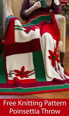 Free Knitting Pattern for Christmas Poinsettia Throw -Garter stitch blanket knit in modular sections Knitted Throw Patterns, Knitted Washcloth Patterns, Jumper Knitting Pattern, Free Knitting, Sweater Patterns, Vintage Knitting, Loom Knitting Projects, Loom Knitting Patterns, Christmas Knitting Patterns