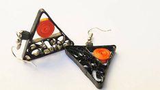 Quilled earrings triangle shape black orange Modern