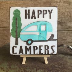 Happy Campers  Reclaimed wood tile  distressed by WellHungDesigns