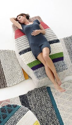 floor cushions and textured poufs--  knitting and crocheting for home ideas.