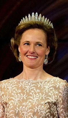 Princess Sophie in Bavaria, Hereditary Princess and wife of Hereditary Prince Alois, wearing the Habsburg Fringe Tiara, Liechtenstein (ca. 1870-1890; probably made by A.E. Köchert; diamonds, gold, silver).
