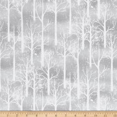 Snowy Friends Snowy Trees Gray from @fabricdotcom  Designed by Nancy Mink for Wilmington, this cotton print fabric features beautiful winter trees and is perfect for quilting, apparel and home decor accents. Colors include white and shades of grey.