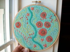 hand embroidered hoop art - freeform stitching sampler in 6 inch hoop by bo betsy
