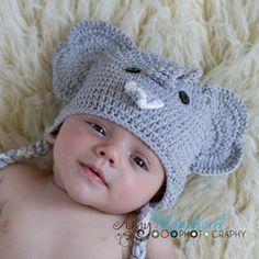 Gray Elephant Crochet Earflap Beanie by Melondipity 6d54ea138dde