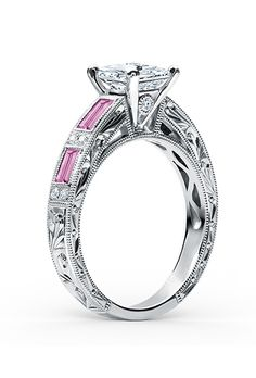 A princess-cut diamond engagement ring with pink sapphires by @kirkkara | Brides.com