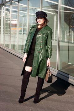 Striwa WW2 Era Mens Vintage Green Leather Overcoat Trenchcoat Coat ...