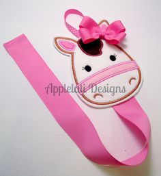 Girls Embroidered Felt Horse Pony Clip Keeper Bow by applelati