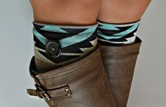 Aqua gray tribal cozy knit boot cuffs with black. Sewn on buttons. Over the knee boot socks.    Size about 5 wide about 7  long.    Sizes available: