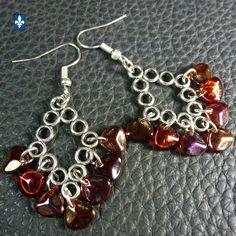 ♥  Fabulous Iridescent Red Czech Glass Petal Plated Silver Earrings