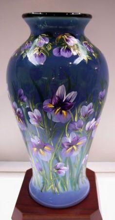 Fenton Vase Emerald Cased w Indigo Opalescent Orchid Garden OOAK Free USA SHIP | eBay