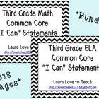 "3rd Grade CCSS Math and ELA ""I Can"" Statements/Standards BUNDLE (B and W)"