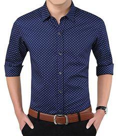 9bc35e602e6 YTD Mens 100% Cotton Casual Slim Fit Long Sleeve Button Down Printed Dress  Shirts US