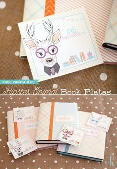 {FREE PRINTABLES} Hipster Animal Book Plates