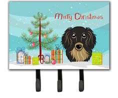Christmas Tree and Longhair Black and Tan Dachshund Leash or Key Holder BB1585TH68