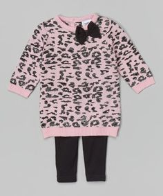 This Light Pink & Black Leopard Sweater & Leggings - Infant is perfect! #zulilyfinds