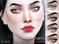 Winged liner with lashes in 5 versions.  Found in TSR Category 'Sims 4 Female Eyeliner'