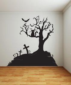 Vinyl Wall Decal Sticker Halloween Tree #1014