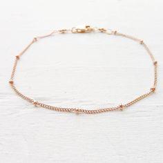 Rose Gold Bracelet or Anklet Dainy Minimal Beaded Chain Rosegold Filled Basic Jewelry