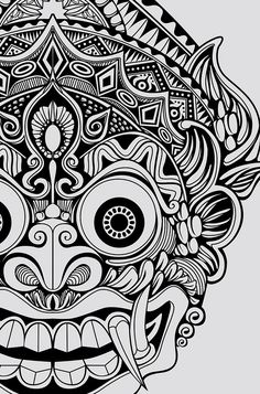 On behance god tattoos, life tattoos, body art tattoos, tatoos, barong bali Mask Drawing, Doodle Art Drawing, Mandala Drawing, Pencil Art Drawings, Art Drawings Sketches, Mandala Art, Tattoo Drawings, Aztec Drawing, Flower Mandala