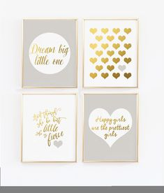 Nursery Wall Art, Gray and gold nursery, And though she be but little, Happy Girls Wall Print, Faux Gold foil, Nursery Decor (1420-4) by wallandwonder on Etsy https://www.etsy.com/ca/listing/552626510/nursery-wall-art-gray-and-gold-nursery