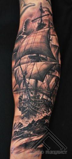 Resultado de imagem para tattoo antebraço navio pirata poseidon
