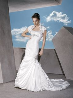 Satin Strapless Classic Trumpet Empire Wedding Dress with Jacket