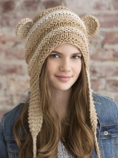Free Knitting Pattern for One Skein Teddy Love Hat - This one skein hat pattern features small teddy bear ears and elongated ear flaps. Quick knit in bulky yarn. Crochet Teddy, Knit Or Crochet, Crochet Hats, Baby Knitting Patterns, Free Knitting, Crochet Patterns, Quick Knits, Love Hat, Knitting Accessories