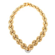 Van Cleef & Arpels Mid 20th Century Diamond and Gold Necklace and Bracelets | From a unique collection of vintage link necklaces at https://www.1stdibs.com/jewelry/necklaces/link-necklaces/