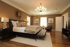 99 Cozy Master Bedroom Design And Decor Ideas - Relaxing Bedroom Colors, Relaxing Master Bedroom, Huge Master Bedroom, Warm Bedroom, Master Bedroom Design, Bedroom Designs, Master Suite, Bedroom Ideas For Couples Master, Bedroom Scene
