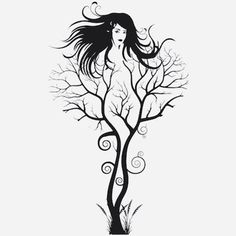 Abstract Tree Woman, Tree Wall Decal, Removable Abstract Wall Decal, Tree Wall Decal, Woman Wall Art