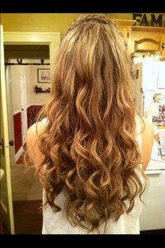 """Loose Curls with a braided """"headband"""" . My new favorite look ."""
