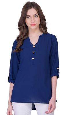 abfcce6a2f7 Navy Blue Color Georgette Casual Wear Printed Top
